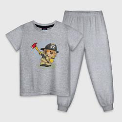 Пижама хлопковая детская Медвежонок-пожарник цвета меланж — фото 1