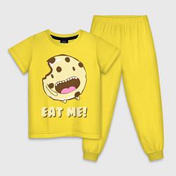 Пижама хлопковая детская Cake: Eat me! цвета желтый — фото 1