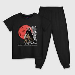 Пижама хлопковая детская Темный всадник цвета черный — фото 1