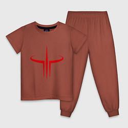 Пижама хлопковая детская Quake logo цвета кирпичный — фото 1