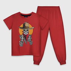 Пижама хлопковая детская Ковбой цвета красный — фото 1