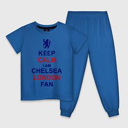 Пижама хлопковая детская Keep Calm & Chelsea London fan цвета синий — фото 1