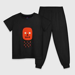 Пижама хлопковая детская Кнопка психодел цвета черный — фото 1