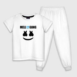 Пижама хлопковая детская Marshmello Mellogang цвета белый — фото 1