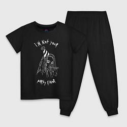 Пижама хлопковая детская Billie Eilish: Party Favor цвета черный — фото 1