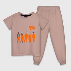 Пижама хлопковая детская Misfits Orange цвета пыльно-розовый — фото 1