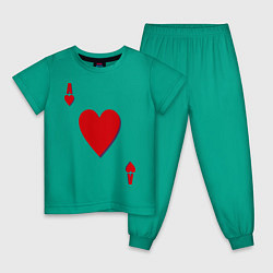 Пижама хлопковая детская Червовый туз цвета зеленый — фото 1