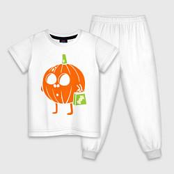 Пижама хлопковая детская Тыква с пакетом цвета белый — фото 1