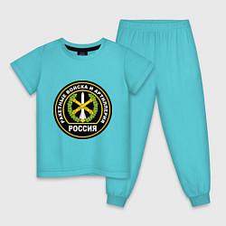 Пижама хлопковая детская РВиА цвета бирюзовый — фото 1