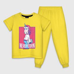 Пижама хлопковая детская Умный Единорог цвета желтый — фото 1