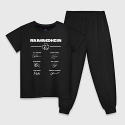 Пижама хлопковая детская Rammstein: Autographs цвета черный — фото 1