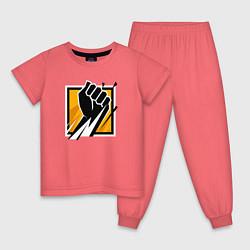 Пижама хлопковая детская R6S FINKA цвета коралловый — фото 1