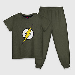Пижама хлопковая детская Flash цвета меланж-хаки — фото 1