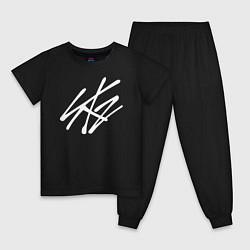 Пижама хлопковая детская Stray Kids цвета черный — фото 1