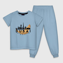 Пижама хлопковая детская ОАЭ Дубаи цвета мягкое небо — фото 1