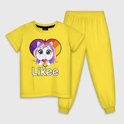 Пижама хлопковая детская Likee LIKE Video цвета желтый — фото 1
