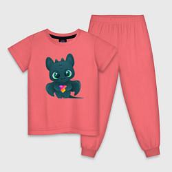 Пижама хлопковая детская Дракончик Likee цвета коралловый — фото 1