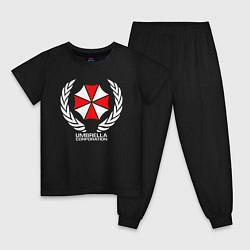 Пижама хлопковая детская UMBRELLA CORP цвета черный — фото 1