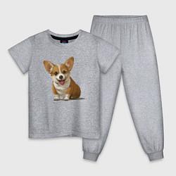 Пижама хлопковая детская КОРГИ цвета меланж — фото 1