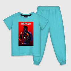 Пижама хлопковая детская The Weekend цвета бирюзовый — фото 1
