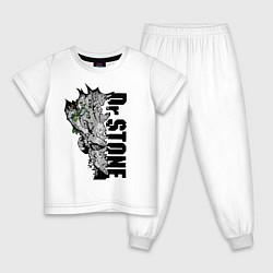 Пижама хлопковая детская Доктор Стоун цвета белый — фото 1