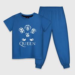 Пижама хлопковая детская QUEEN НА СПИНЕ цвета синий — фото 1