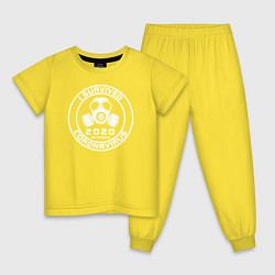 Пижама хлопковая детская Я пережил Коронавирус цвета желтый — фото 1