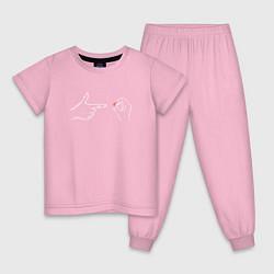 Пижама хлопковая детская LOVE & SEX цвета светло-розовый — фото 1