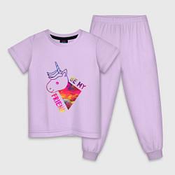 Пижама хлопковая детская BE MY FRIEND цвета лаванда — фото 1