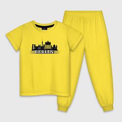 Пижама хлопковая детская Берлин цвета желтый — фото 1