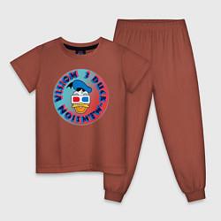 Пижама хлопковая детская Duck Vision цвета кирпичный — фото 1