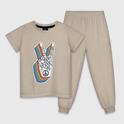 Пижама хлопковая детская PEACE LOVE HOPE Z цвета миндальный — фото 1