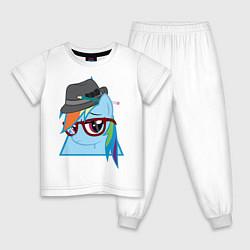 Пижама хлопковая детская Rainbow Dash hipster цвета белый — фото 1