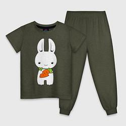 Пижама хлопковая детская Зайчик с морковкой цвета меланж-хаки — фото 1
