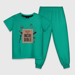 Пижама хлопковая детская Incredibles цвета зеленый — фото 1