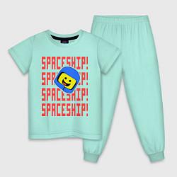 Пижама хлопковая детская Spaceship цвета мятный — фото 1
