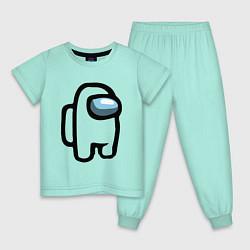 Пижама хлопковая детская AMONG US цвета мятный — фото 1
