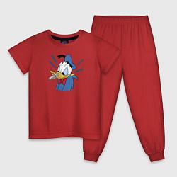 Пижама хлопковая детская Упс! цвета красный — фото 1