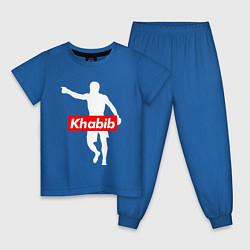 Пижама хлопковая детская Хабиб Нурмагомедов Орел цвета синий — фото 1