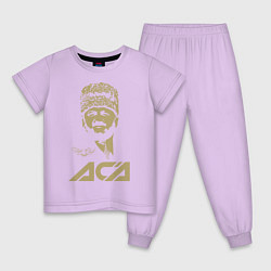 Пижама хлопковая детская Akhmat Fight Club цвета лаванда — фото 1