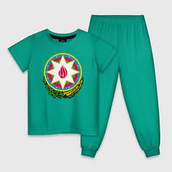 Пижама хлопковая детская Азербайджан цвета зеленый — фото 1