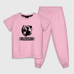 Пижама хлопковая детская Russia цвета светло-розовый — фото 1