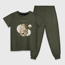 Пижама хлопковая детская Слизерин цвета меланж-хаки — фото 1