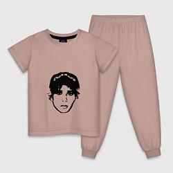 Пижама хлопковая детская Slawa Marlow цвета пыльно-розовый — фото 1