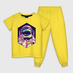 Пижама хлопковая детская Космонавт на обеде цвета желтый — фото 1