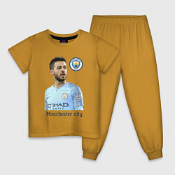 Пижама хлопковая детская Бернарду Силва Манчестер Сити цвета горчичный — фото 1