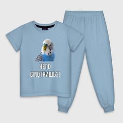 Пижама хлопковая детская Чего смотришь!? цвета мягкое небо — фото 1