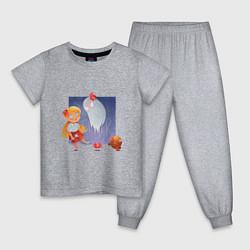 Пижама хлопковая детская Sweet Wendy цвета меланж — фото 1