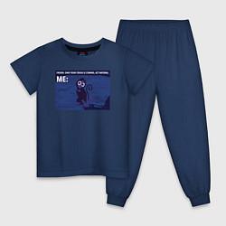 Пижама хлопковая детская Your crush is comming цвета тёмно-синий — фото 1