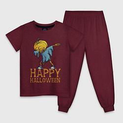 Пижама хлопковая детская Happy Halloween цвета меланж-бордовый — фото 1